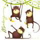 Monkey Fun Cartoon Hanging on Vine with Banana