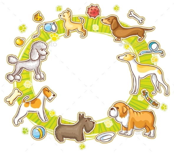 Round Frame with Cartoon Dogs - Animals Characters