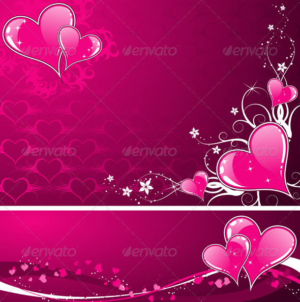 Valentines Day background with hearts and florals - Valentines Seasons/Holidays