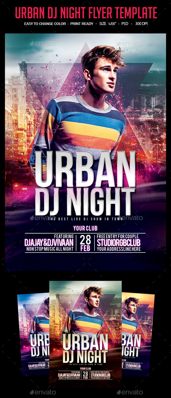 Urban DJ Night Flyer Template - Clubs & Parties Events