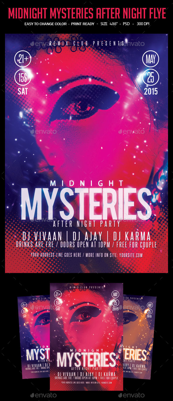 Midnight Mysteries After Night Flyer - Clubs & Parties Events