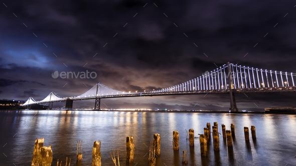 San Francisco-Oakland Bay Bridge at night - Stock Photo - Images