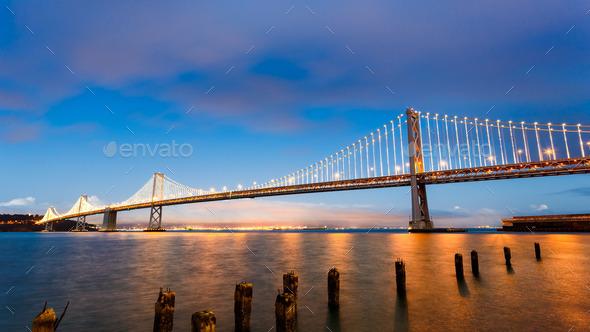 San Francisco-Oakland Bay Bridge at sunset - Stock Photo - Images