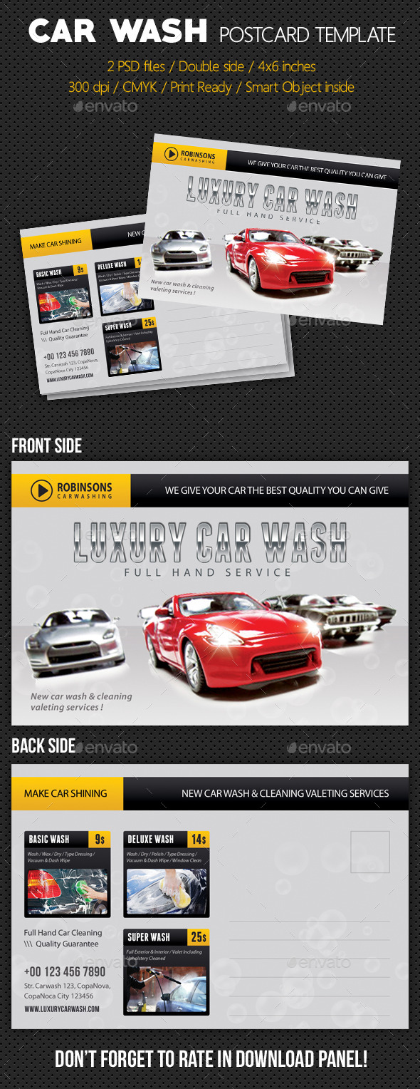 Car Wash Postcard Template V02 - Cards & Invites Print Templates