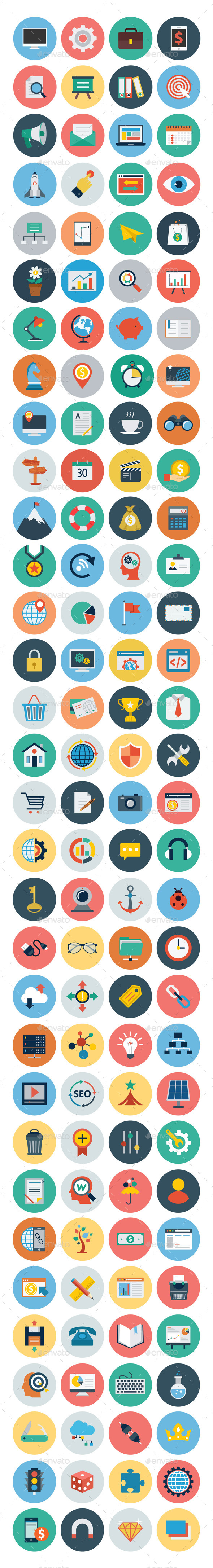 125+ Seo and Marketing Flat Icons - Web Icons
