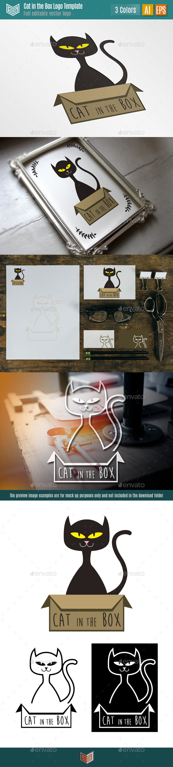 Cat in the Box II Logo  - Animals Logo Templates