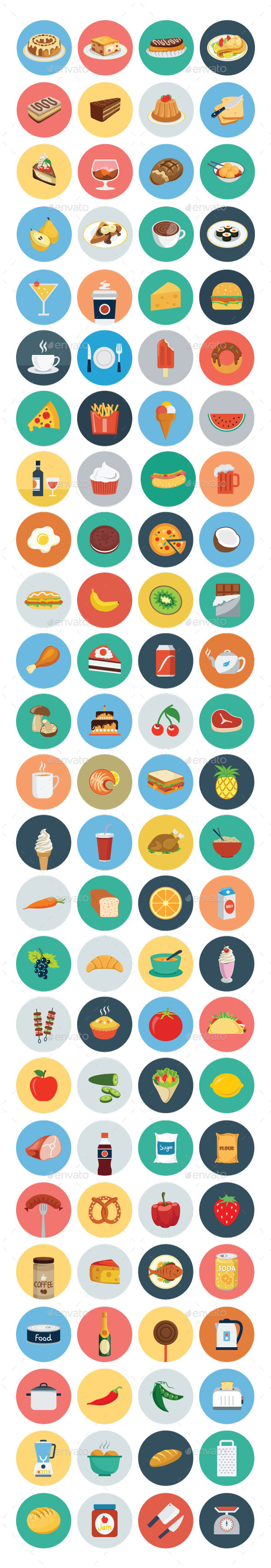 100 Food Flat Icons - Food Objects