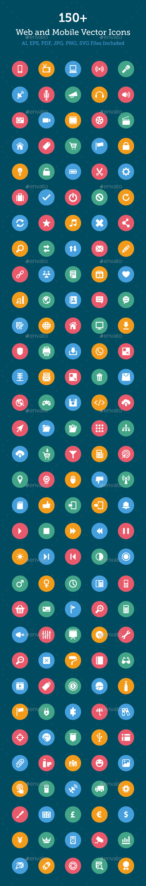 150+ Web and Mobile Vector Icons - Web Icons