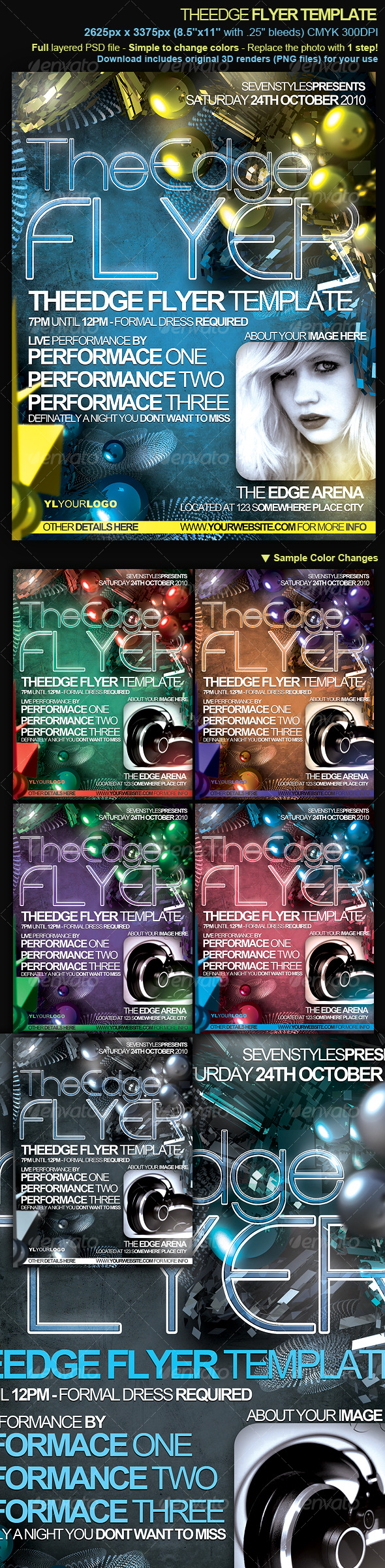 TheEdge Flyer/Poster Template - Clubs & Parties Events