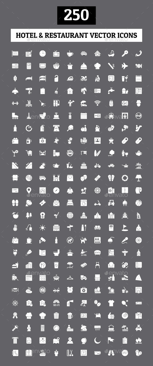 250 Hotel and Restaurant Vector Icon - Icons