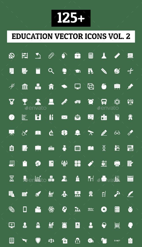 125+ Education Vector Icons - Vol 2 - Icons
