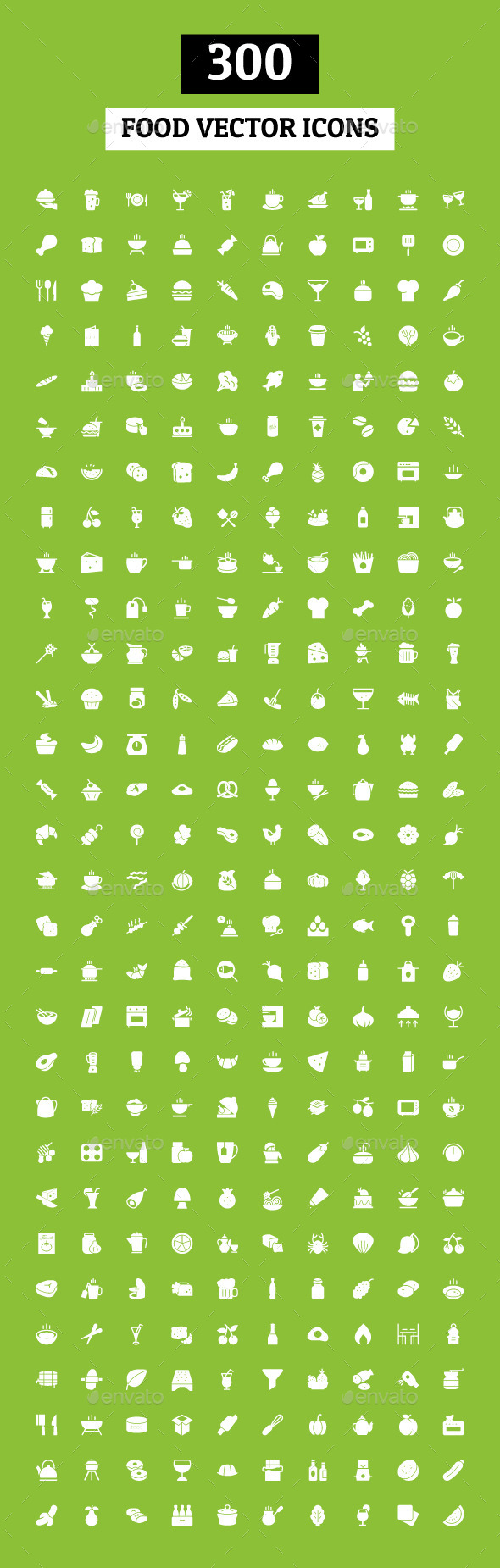 300 Food Vector Icons - Food Objects