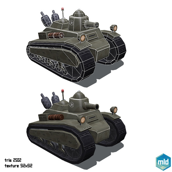 Low Poly Cartoon Old Tank - 3DOcean Item for Sale
