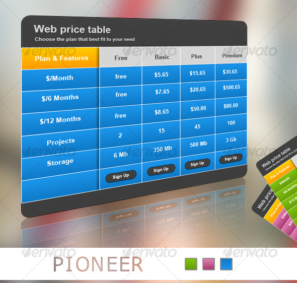 Pioneer_Web Pricing Table - Web Elements