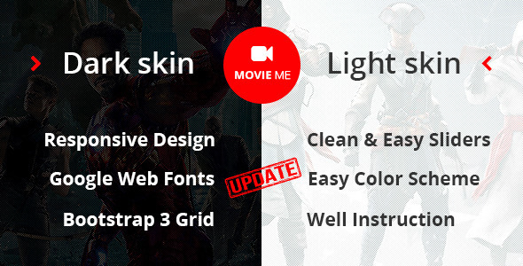 Movie Me – Cinema/Movie Bootstrap 3 HTML Template