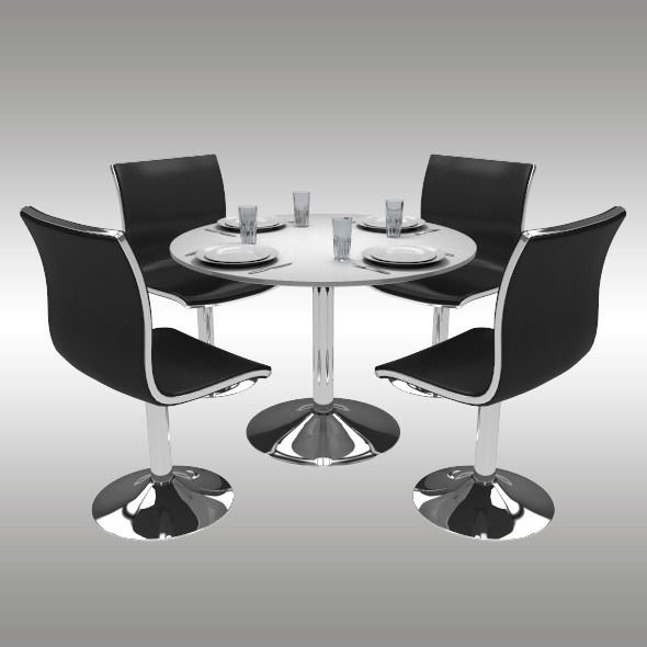 Round Dining Table Set - 3DOcean Item for Sale