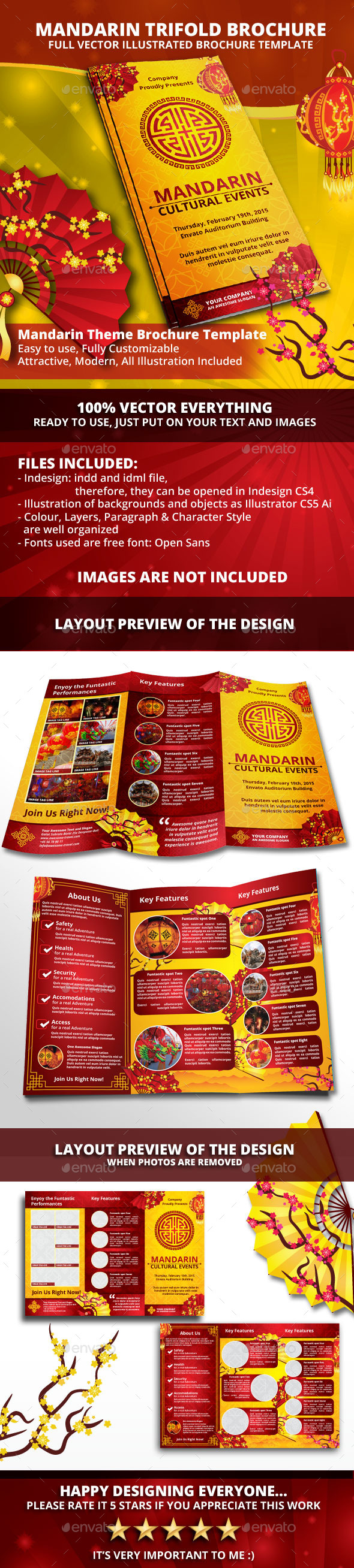 Mandarin - Chinese Trifold Brochue Template - Informational Brochures