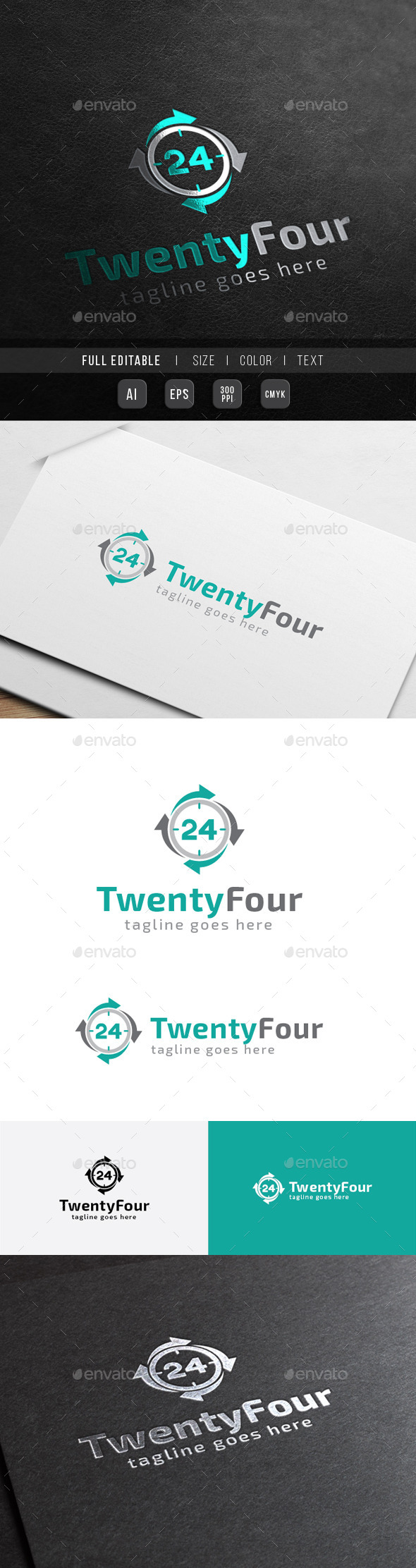 24 hour - Twenty Four Number Business - Numbers Logo Templates