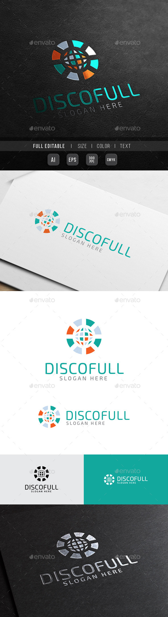 DJ World - Disco Colorful - Abstract Logo Templates