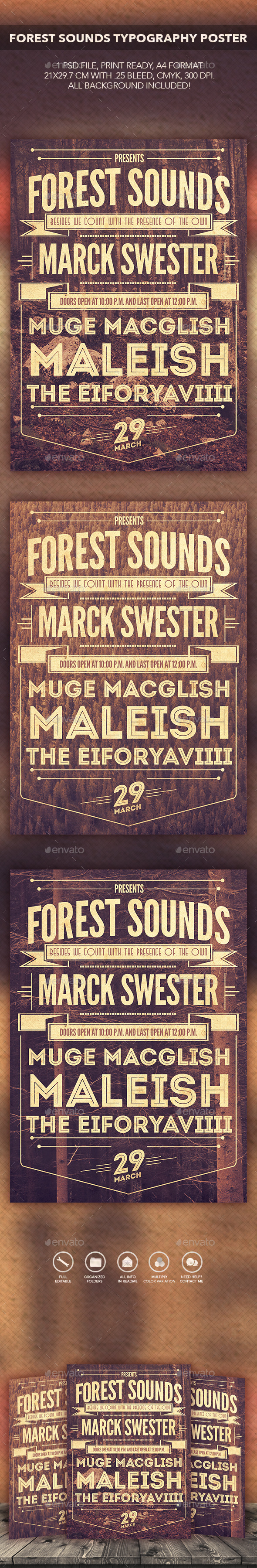Forest Sounds Typography Flyer/Poster - Flyers Print Templates