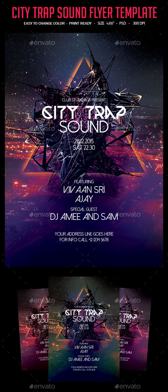 City Trap Sound Flyer Template - Clubs & Parties Events