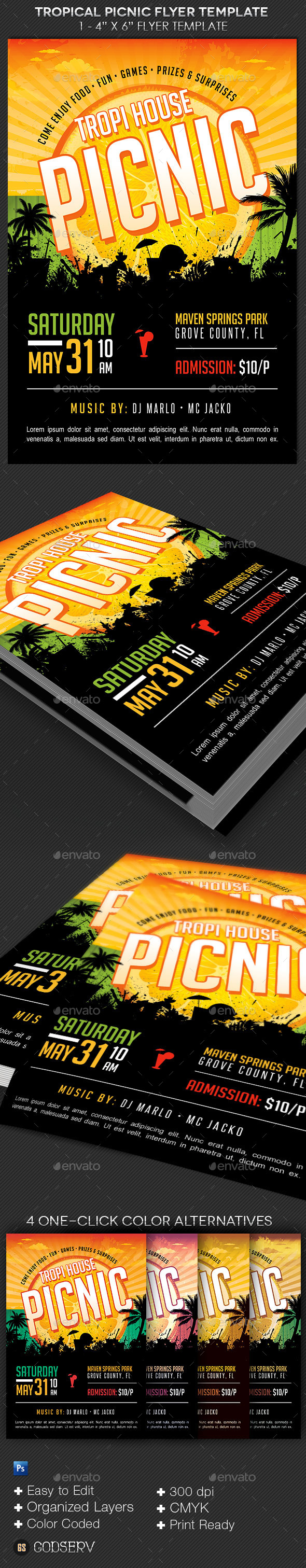 Tropical Picnic Flyer Template - Events Flyers