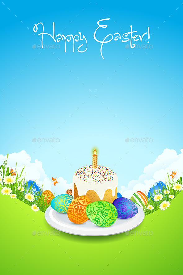Easter Card with Landscape, Cake and Decorated Egg - Seasons/Holidays Conceptual