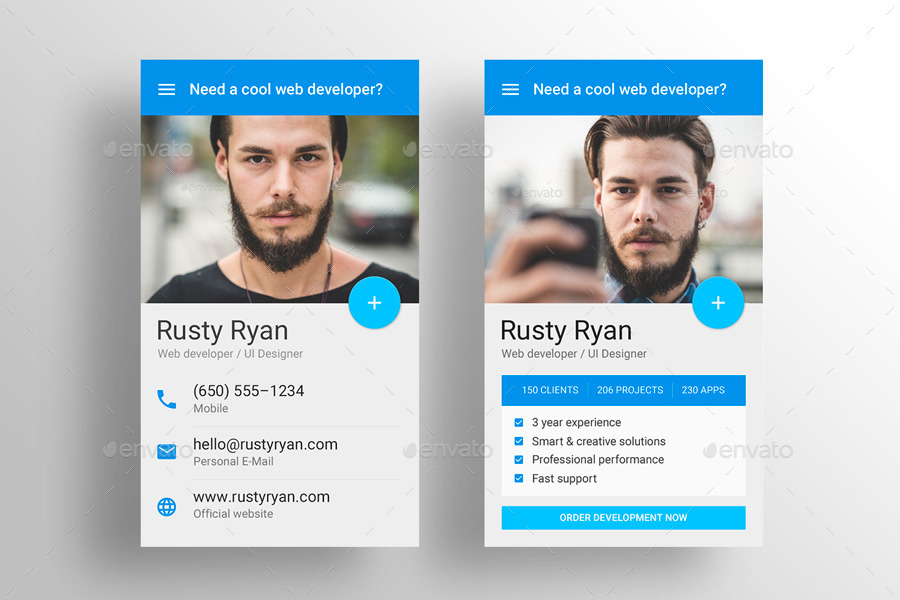 Made material design business card template by for Material design business card