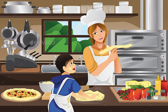 Mother Son in the Kitchen - People Characters