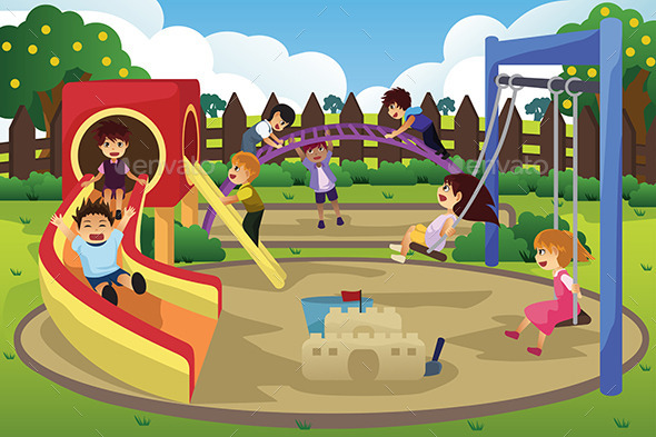Children Playing in the Playground - Sports/Activity Conceptual