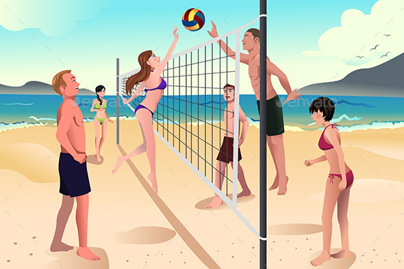People Playing Volleyball  - Sports/Activity Conceptual