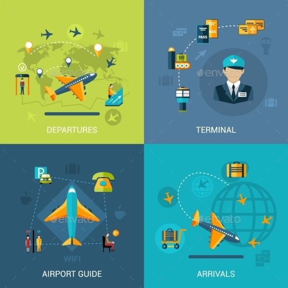 Airport Flat Set - Travel Conceptual