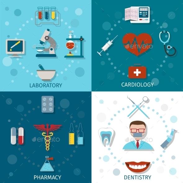 Medical Set Flat - Health/Medicine Conceptual