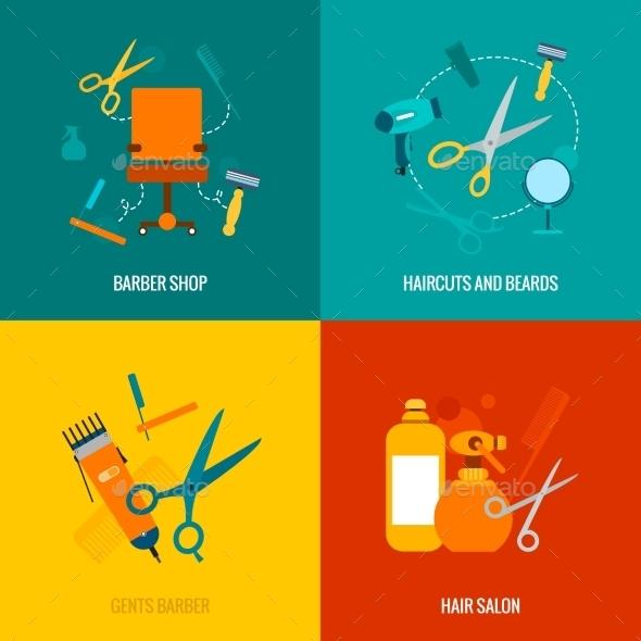 Barber Shop Flat Icons Composition - Miscellaneous Vectors