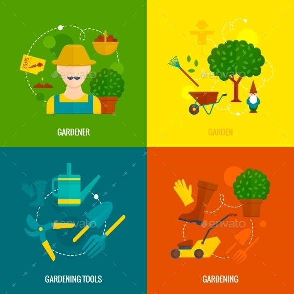 Vegetable Garden Flat Icons Composition  - Nature Conceptual