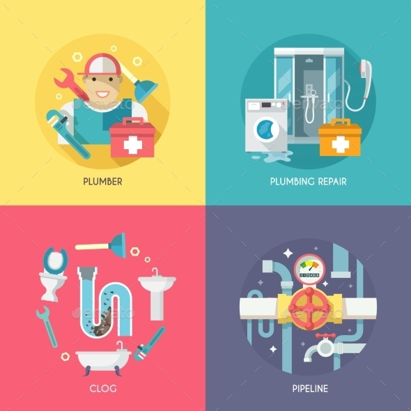 Plumbing Icons Composition Flat - Web Technology