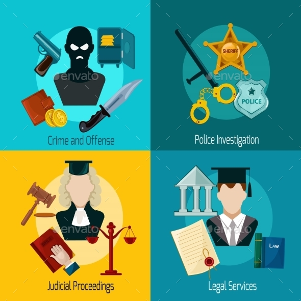 Law Icon Flat - Miscellaneous Vectors