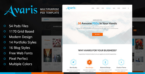 Avaris | Multipurpose PSD Template - Business Corporate