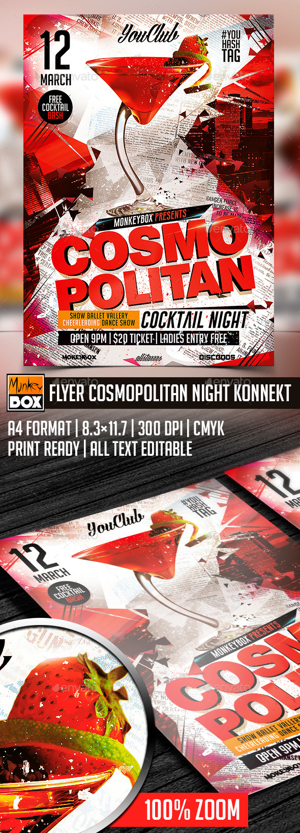 Flyer Cosmopolitan Night Konnekt - Flyers Print Templates