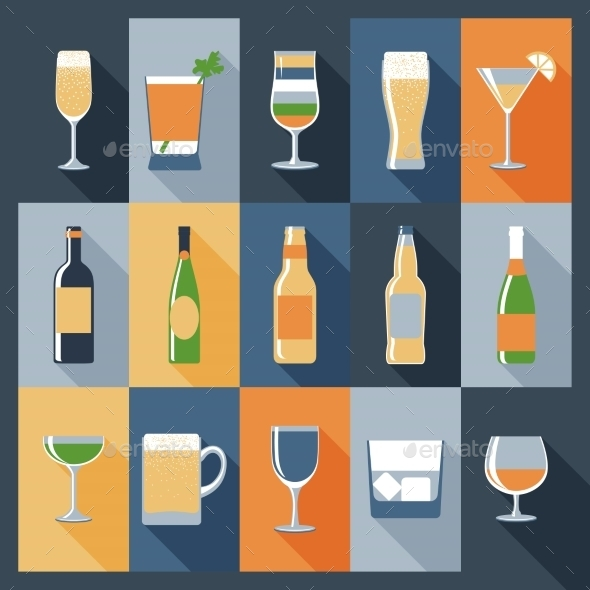 Drink Icons Flat - Food Objects