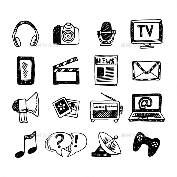 Media Icons Set - Technology Conceptual