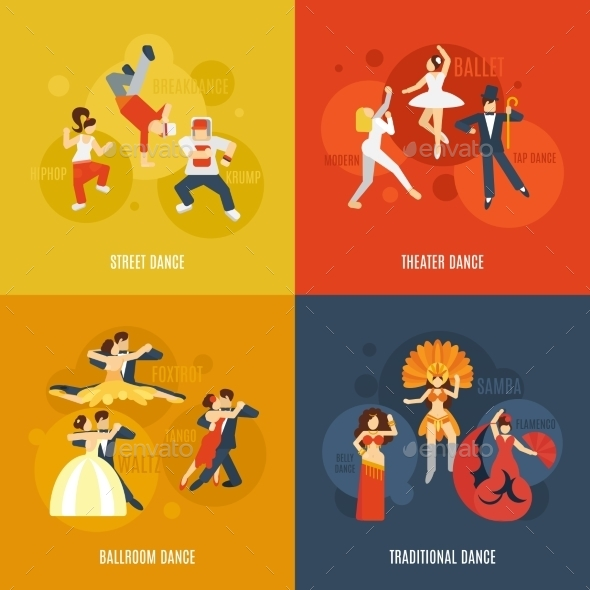 Dance Flat Set - Decorative Vectors