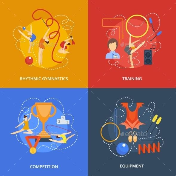 Gymnastics Flat Set - Sports/Activity Conceptual