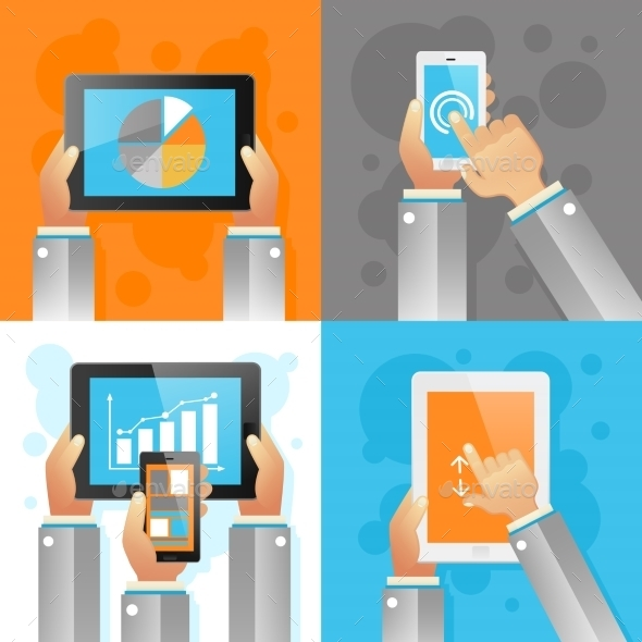 Hands With Mobile Devices - Icons
