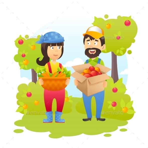 Farmers In Garden - Nature Conceptual