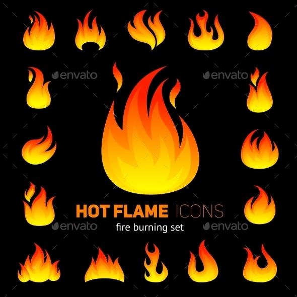 Fire Icon Set - Decorative Vectors