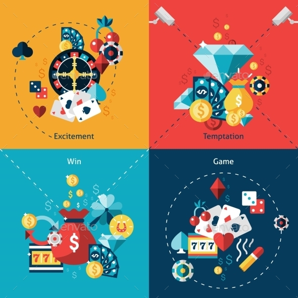 Casino Flat Set - Business Conceptual