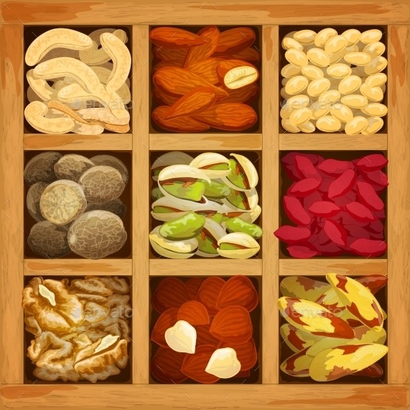 Nuts Collection Assorted - Food Objects