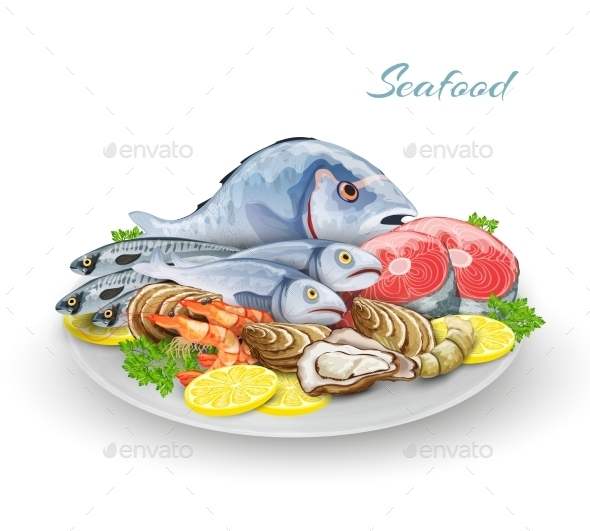 Seafood Plate Composition - Food Objects