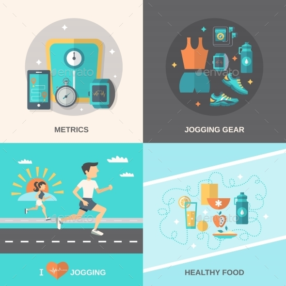 Jogging Flat Set - Sports/Activity Conceptual